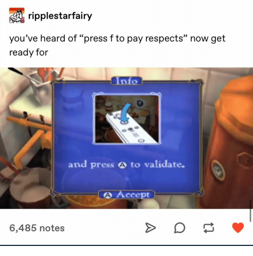 "Accept, Now, and Notes: ripplestarfairy  25  you've heard of ""press fto pay respects"" now get  ready for  Into  and press A to validate.  A Accept  6,485 notes"
