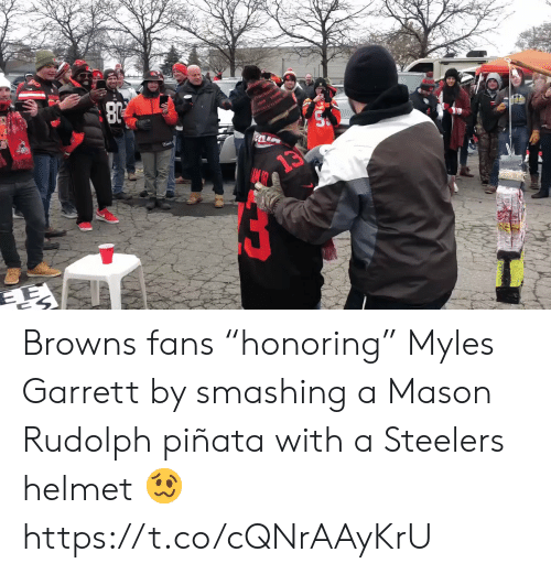 "Pinata: rivvIAND  13 Browns fans ""honoring"" Myles Garrett by smashing a Mason Rudolph piñata with a Steelers helmet 🥴 https://t.co/cQNrAAyKrU"