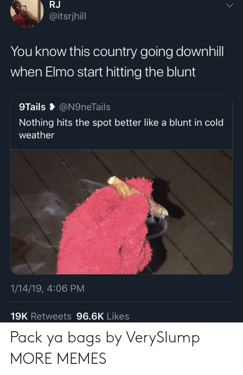 Cold Weather: RJ  @itsrjhill  You know this country going downhill  when Elmo start hitting the blunt  9Tails @N9neTails  Nothing hits the spot better like a blunt in cold  weather  1/14/19, 4:06 PM  19K Retweets 96.6K Likes Pack ya bags by VerySlump MORE MEMES