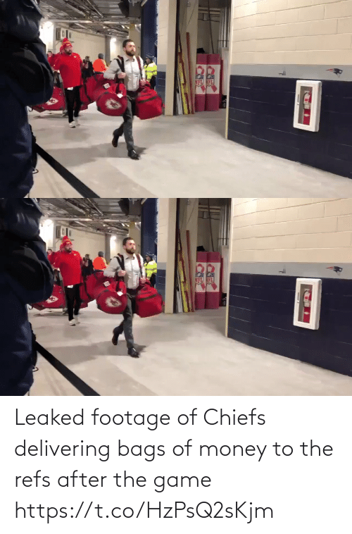Football, Money, and Nfl: RK Leaked footage of Chiefs delivering bags of money to the refs after the game https://t.co/HzPsQ2sKjm