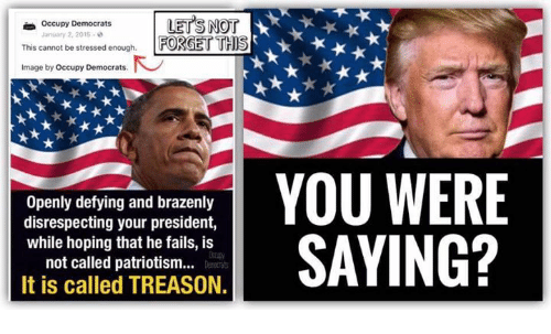 You Were Saying: rLETS NOT  This cannot be stressed enough FORGET THS  Occupy Democrats  January 2, 2015-  Image by Occupy Democrats  Openly defying and brazenly  disrespecting your president,  while hoping that he fails, is  not called patriotism..  It is called TREASON.  YOU WERE  SAYING?
