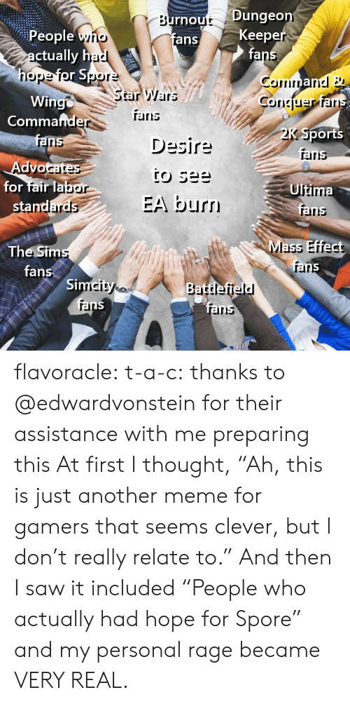 "spore: rnout Dunge  fans  Keep  fa  People yno  ctually h  nope  StarWars  Wingo  Coriciuer ar  Commafnde  TErris  Desire  Sports  aris  ranns  Advo  for fair lab  Ultima  EA burn  rainns  Mass Effect  The Sim  fans  rar  Si  rel  irs flavoracle:  t-a-c: thanks to @edwardvonstein for their assistance with me preparing this  At first I thought, ""Ah, this is just another meme for gamers that seems clever, but I don't really relate to.""  And then I saw it included ""People who actually had hope for Spore"" and my personal rage became VERY REAL."