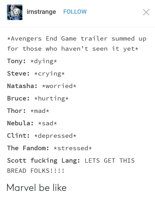 Be Like, Crying, and Fucking: rnstrange FOLLOW  Avengers End Game trailer summed up  for those who haven't seen it yet*  Tony dying*  Steve: *crying*  Natasha: worried*  Bruce: *hurting*  Thor: mad*  Nebula: sad*  Clint: *depressed*  The Fandom xstressed*  Scott fucking Lang: LETS GET THIS  BREAD FOLKS!!!! Marvel be like