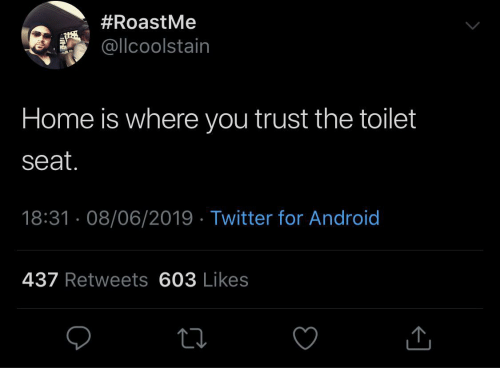 toilet:  #RoastMe  @llcoolstain  Home is where you trust the toilet  seat.  18:31 · 08/06/2019 · Twitter for Android  437 Retweets 603 Likes