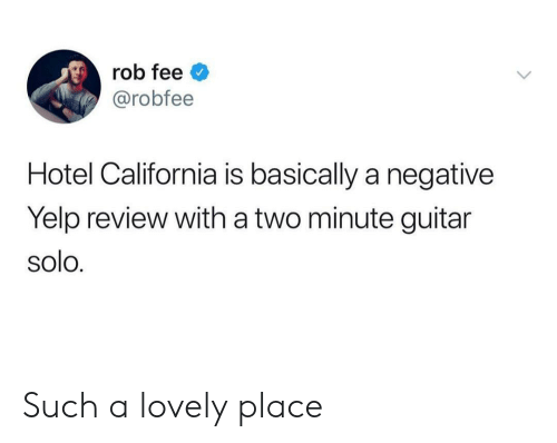Hotel: rob fee  @robfee  Hotel California is basically a negative  Yelp review with a two minute guitar  solo. Such a lovely place
