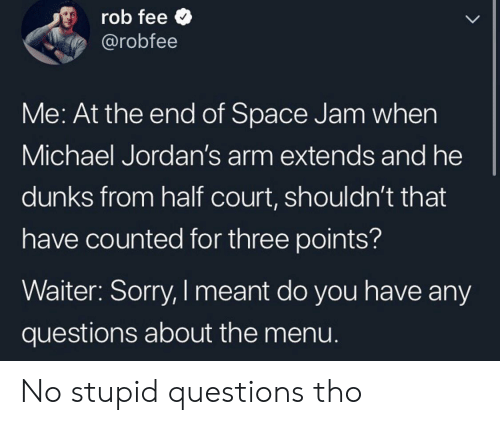 any questions: rob fee  @robfee  LL  Me: At the end of Space Jam when  Michael Jordan's arm extends and he  dunks from half court, shouldn't that  have counted for three points?  Waiter: Sorry, I meant do you have any  questions about the menu. No stupid questions tho