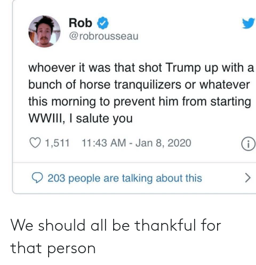 I Salute You: Rob  @robrousseau  whoever it was that shot Trump up with a  bunch of horse tranquilizers or whatever  this morning to prevent him from starting  WWII, I salute you  ♡ 1,511  11:43 AM - Jan 8, 2020  i  203 people are talking about this We should all be thankful for that person