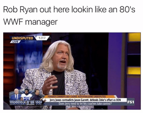 Jerry Jones: Rob Ryan out here lookin like an 80's  WWF manager  UNDISPUTED  LIVE  9.21.17  Jerry Jones contradicts Jason Garrett, defends Zeke's effort vs DEN  Does Jerry need to let his coaches take control?  FS1