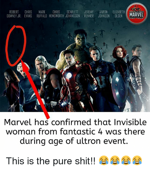 scarlette: ROBERT CHRIS MARK CHRIS SCARLETT JEREMY AARON ELIZABETH  DOWNEY JR. EVANS RUFFALO HEMSWORTH JOHANSSON RENNER JOHNSON OLSEN MARVEL  ACT FICES  Marvel has confirmed that Invisible  woman from fantastic 4 was there  during age of ultron event. This is the pure shit!! 😂😂😂😂
