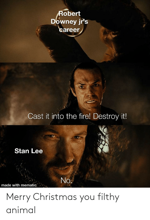 Stan: Robert  Downey jr's  career  Cast it into the fire! Destroy it!  Stan Lee  No.  made with mematic Merry Christmas you filthy animal