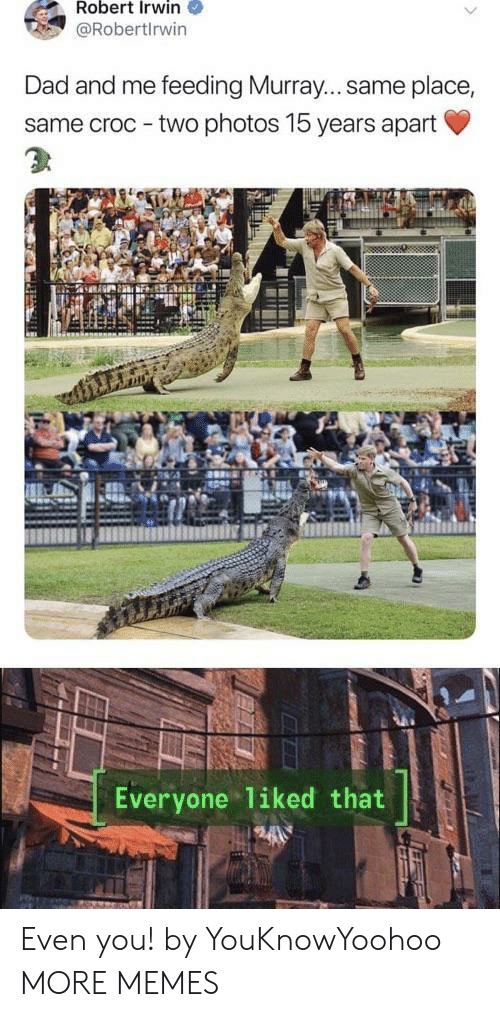 Dad, Dank, and Memes: Robert Irwin  @Robertlrwin  Dad and me feeding Murray... same place,  same croc - two photos 15 years apart  Everyone liked that Even you! by YouKnowYoohoo MORE MEMES