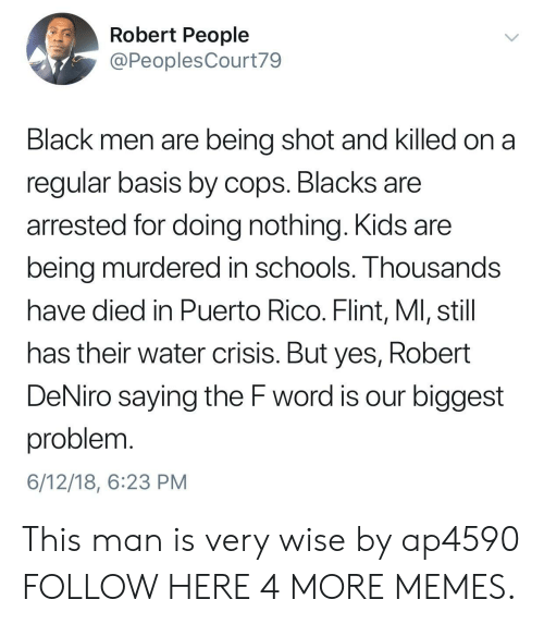 Puerto Rico: Robert People  @PeoplesCourt79  Black men are being shot and killed on a  regular basis by cops. Blacks are  arrested for doing nothing. Kids are  being murdered in schools. Thousands  have died in Puerto Rico. Flint, Ml, still  has their water crisis. But yes, Robert  DeNiro saying the F word is our biggest  problem  6/12/18, 6:23 PM This man is very wise by ap4590 FOLLOW HERE 4 MORE MEMES.