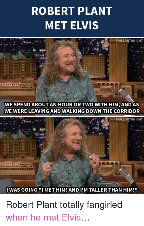 """robert plant: ROBERT PLANT  MET ELVIS   #FALLON TONIGHT  WE SPEND ABOUT AN HOUR OR TWO WITH HIM AND AS  WE WERE LEAVING AND WALKING DOWN THE CORRIDOR   #FALLONTONIGHT  IWAS GOINGI MET HIM! ANDIIM TALLER THAN HIM!"""" <p>Robert Plant totally fangirled <a href=""""http://www.nbc.com/the-tonight-show/segments/12621"""" target=""""_blank"""">when he met Elvis</a>&hellip;</p>"""