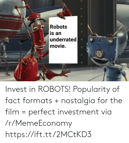 Formats: Robots  is an  underrated  movie. Invest in ROBOTS! Popularity of fact formats + nostalgia for the film = perfect investment via /r/MemeEconomy https://ift.tt/2MCtKD3
