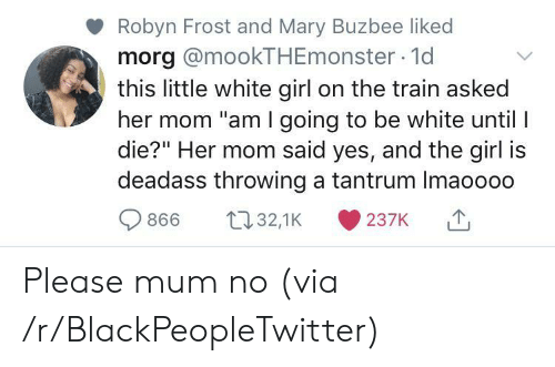 "white girl: Robyn Frost and Mary Buzbee liked  morg @mookTHEmonster 1d  this little white girl on the train asked  her mom ""am I going to be white until I  die?"" Her mom said yes, and the girl is  deadass throwing a tantrum Imaoooo  t32,1K  866  237K Please mum no (via /r/BlackPeopleTwitter)"