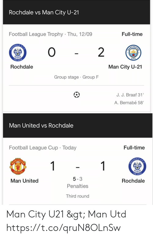man united: Rochdale vs Man City U-21  Football League Trophy Thu, 12/09  Full-time  0  ROCHDALE  O  PIRCHERIS  2  THE DALE  CITY  Rochdale  Man City U-21  Group stage Group F  J. J. Braaf 31  A.Bernabé 58'  A.F.C   Man United vs Rochdale  Full-time  Football League Cup Today  A.F.C  1  HARLCHETER  THE DALE  UNITED  Rochdale  5-3  Man United  Penalties  Third round Man City U21 > Man Utd https://t.co/qruN8OLnSw