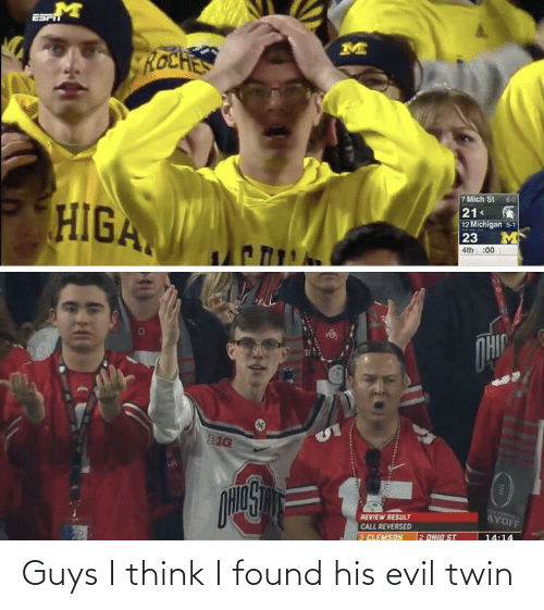 Think I: ROCHES  7 Mich St 60  21  12 Michigan 5-1  23  HIGA  :00  4th  OHIC  EIG  WE FODA  AYOFF  REVIEW RESULT  CALL REVERSED  2 OHID ST  14:14  3 ELEMSON Guys I think I found his evil twin