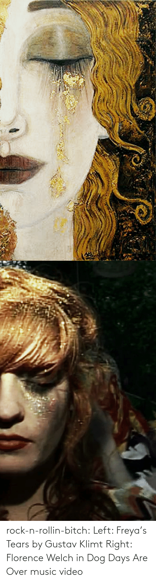 rollin: rock-n-rollin-bitch: Left: Freya's Tears by Gustav Klimt Right: Florence Welch in Dog Days Are Over music video