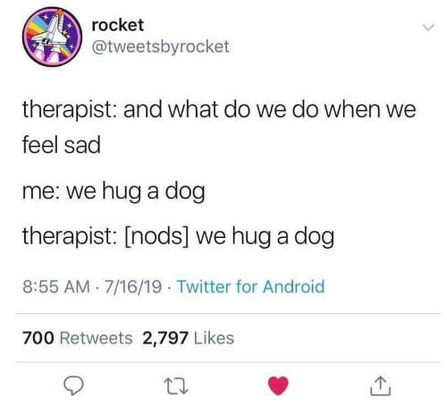 Android, Twitter, and Sad: rocket  @tweetsbyrocket  therapist: and what do we do when we  feel sad  me: we hug a dog  therapist: [nods] we hug a dog  8:55 AM 7/16/19. Twitter for Android  700 Retweets 2,797 Likes