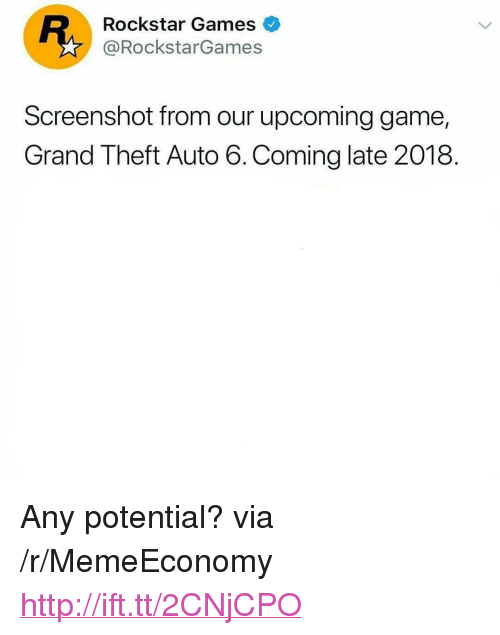 """Theft Auto: Rockstar Games  @RockstarGames  Screenshot from our upcoming game,  Grand Theft Auto 6.Coming late 2018. <p>Any potential? via /r/MemeEconomy <a href=""""http://ift.tt/2CNjCPO"""">http://ift.tt/2CNjCPO</a></p>"""