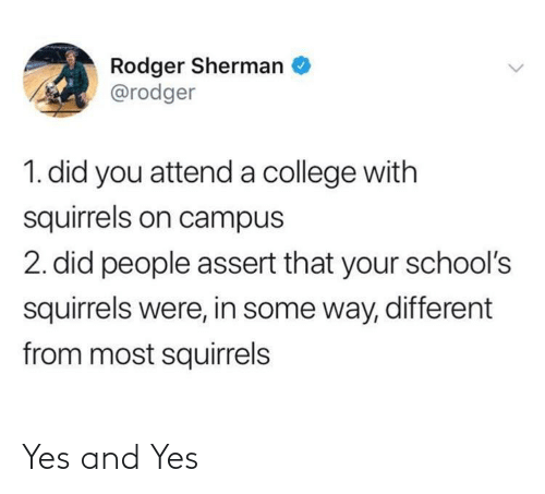 squirrels: Rodger Sherman  @rodger  1. did you attend a college with  squirrels on campus  2. did people assert that your school's  squirrels were, in some way, different  from most squirrels Yes and Yes