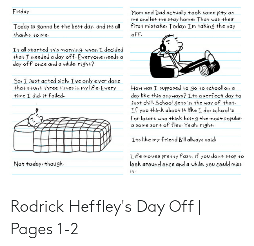 pages: Rodrick Heffley's Day Off | Pages 1-2
