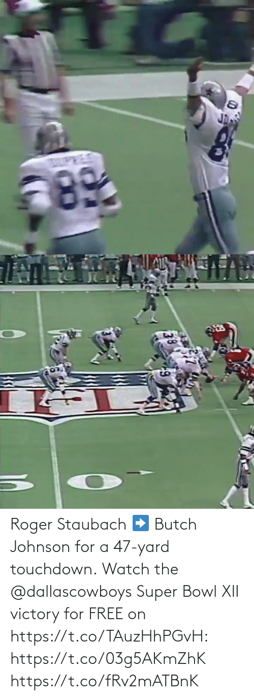 Roger: Roger Staubach ➡️ Butch Johnson for a 47-yard touchdown.  Watch the @dallascowboys Super Bowl XII victory for FREE on https://t.co/TAuzHhPGvH: https://t.co/03g5AKmZhK https://t.co/fRv2mATBnK