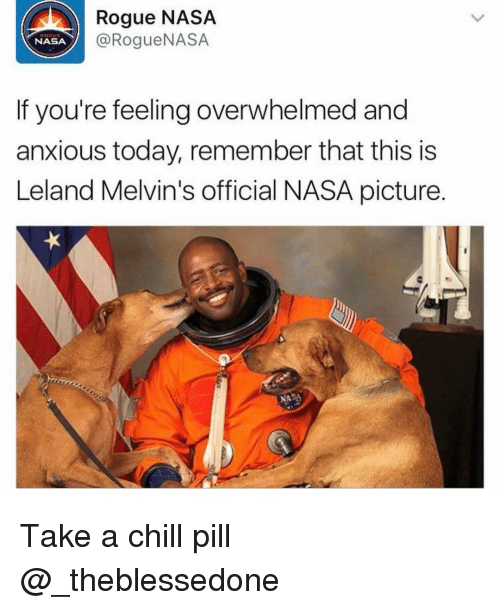 Overwhelm: Rogue NASA  NASA  @Rogue NASA  If you're feeling overwhelmed and  anxious today, remember that this is  Leland Melvin's official NASA picture. Take a chill pill @_theblessedone