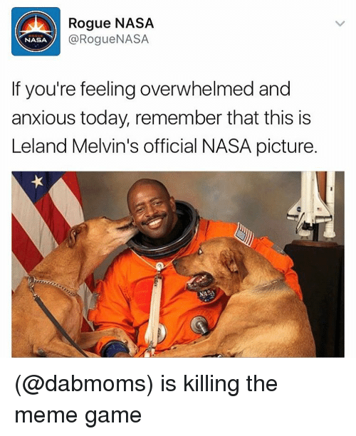 Funny, Meme, and Memes: Rogue NASA  Rogue NASA  NASA  If you're feeling overwhelmed and  anxious today, remember that this is  Leland Melvin's official NASA picture. (@dabmoms) is killing the meme game