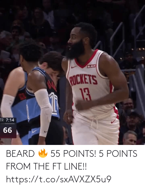 Beard: ROKIT  ROCKETS  13  TR 7:14  66 BEARD 🔥 55 POINTS! 5 POINTS FROM THE FT LINE!!   https://t.co/sxAVXZX5u9