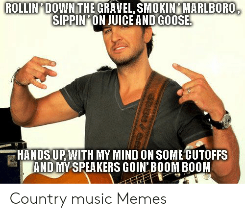 Country Music Memes: ROLLIN DOWNTHE GRAVEL, SMOKIN MARLBORO  SIPPIN ON JUICE AND GOOSE  HANDS UPWITH MY MIND ON SOME CUTOFFS  AND MYSPEAKERS GOIN BOOM BOOM Country music Memes