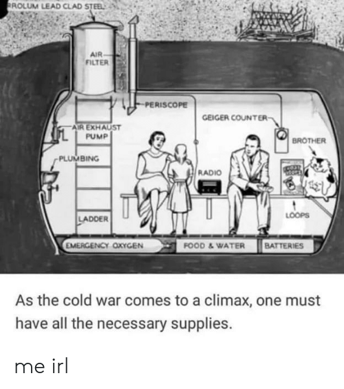 exhaust: ROLUM LEAD CLAD STEEL  AIR  FILTER  PERISCOPE  GEIGER COUNTER  AIR EXHAUST  PUMP  BROTHER  PLUMBING  RADIO  LOOPS  LADDER  EMERGENCY OXYGEN  FOOD &WATER BATTERIES  As the cold war comes to a climax, one must  have all the necessary supplies. me irl