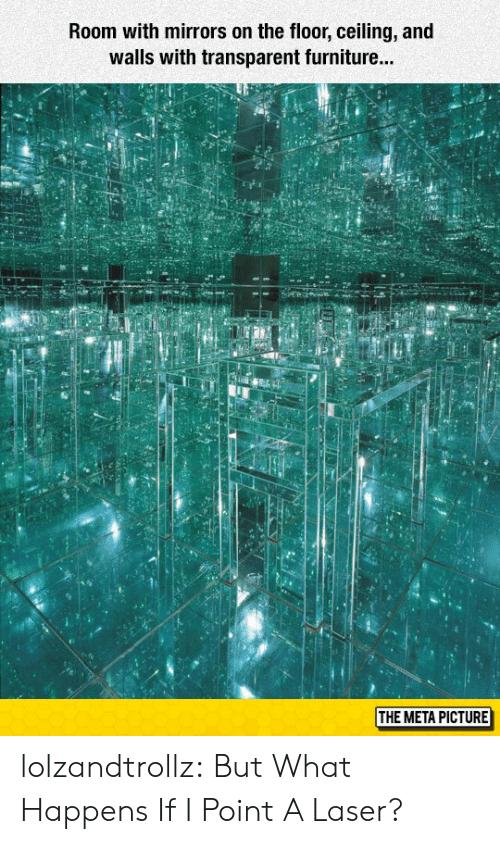 Transparent: Room with mirrors on the floor, ceiling, and  walls with transparent furniture...  id  THE META PICTURE lolzandtrollz:  But What Happens If I Point A Laser?