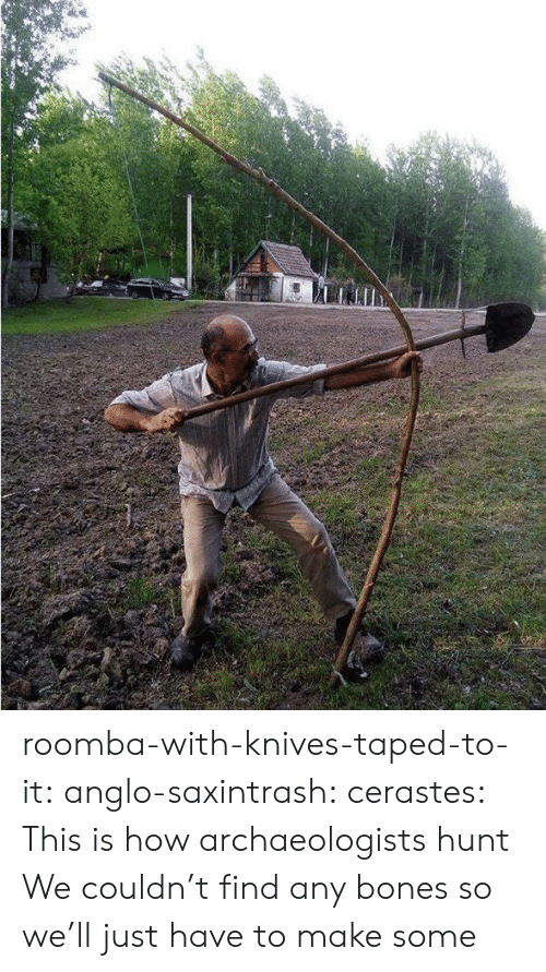Bones, Tumblr, and Roomba: roomba-with-knives-taped-to-it: anglo-saxintrash:  cerastes:   This is how archaeologists hunt   We couldn't find any bones so we'll just have to make some