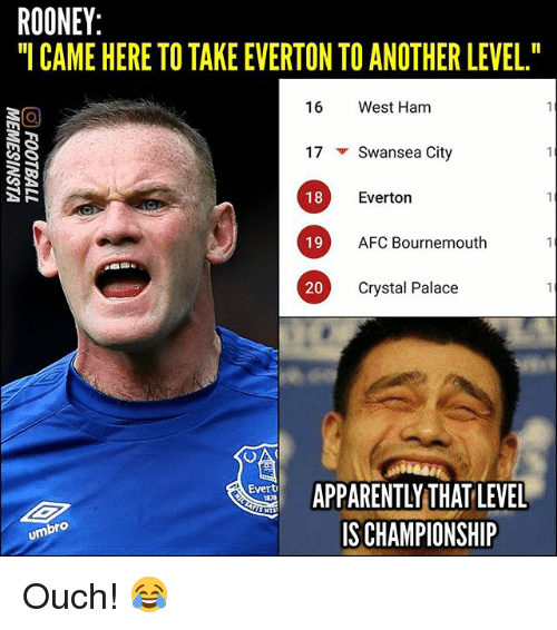"""rooney: ROONEY  CAME HERE TO TAKE EVERTON TO ANOTHER LEVEL.""""  16 West Ham  17 ▼ Swansea City  18  Everton  19 AFC Boumemouth  AFC Bournemouth  20  Crystal Palace  ARENY HAT LEVEL  IS CHAMPIONSHIP  Evert  umbro Ouch! 😂"""