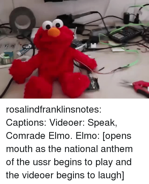 Elmo, Tumblr, and National Anthem: rosalindfranklinsnotes: Captions: Videoer: Speak, Comrade Elmo. Elmo: [opens mouth as the national anthem of the ussr begins to play and the videoer begins to laugh]