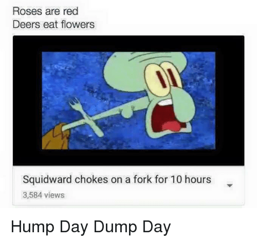 Hump Day: Roses are red  Deers eat flowers  Squidward chokes on a fork for 10 hours  3,584 views Hump Day Dump Day