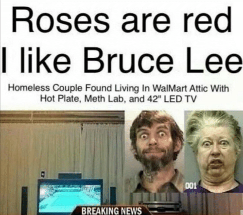 """Walmart: Roses are red  I like Bruce Lee  Homeless Couple Found Living In WalMart Attic With  Hot Plate, Meth Lab, and 42"""" LED TV  001  BREAKING NEWS"""