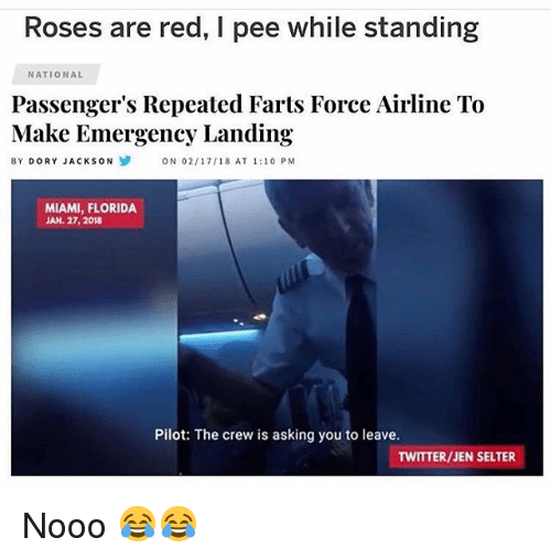 Funny, Twitter, and Florida: Roses are red, I pee while standing  NATIONAL  Passenger's Repeated Farts Force Airline To  Make Emergency Landing  BY DORY JACKSON  ON 02/17/18 AT 1:10 PM  MIAMI, FLORIDA  JAN. 27,2018  Pilot: The crew is asking you to leave.  TWITTER/JEN SELTER Nooo 😂😂