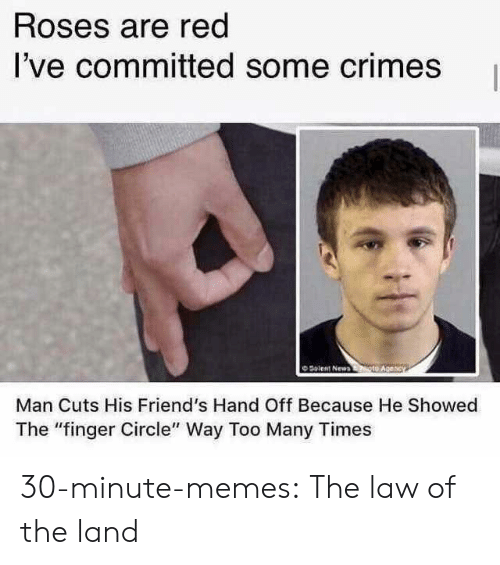 "Friends, Memes, and Tumblr: Roses are red  I've committed some crimes  O Solent New  Man Cuts His Friend's Hand Off Because He Showed  The ""finger Circle"" Way Too Many Times 30-minute-memes:  The law of the land"