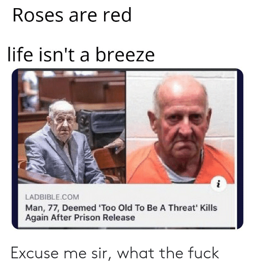 Prison: Roses are red  life isn't a breeze  LADBIBLE.COM  Man, 77, Deemed 'Too Old To Be A Threat' Kills  Again After Prison Release Excuse me sir, what the fuck