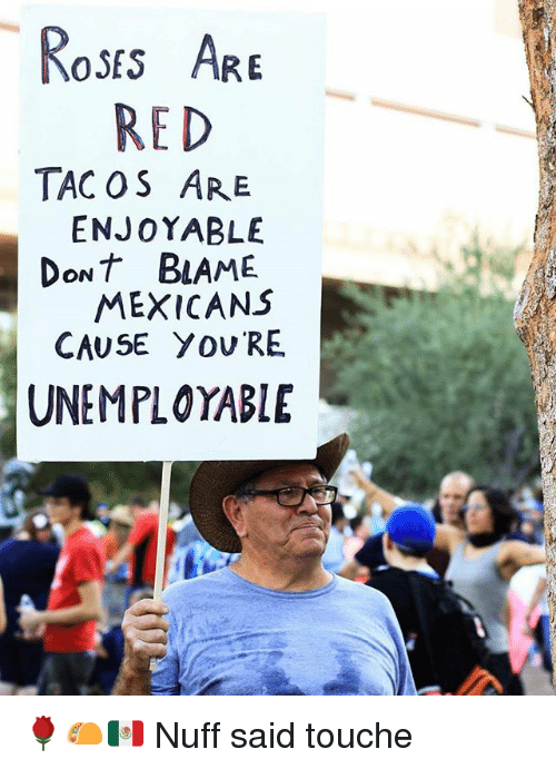 nuff said: Roses ARE  RED  TAC OS ARE  ENJOYABLE  DoNt BAME  MEXICANS  CAUSE Y OV RE  UNEMPLOYABLE 🌹🌮🇲🇽 Nuff said touche