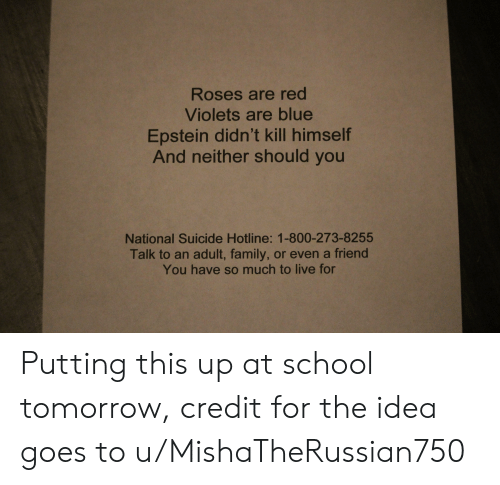 Family, School, and Blue: Roses are red  Violets are blue  Epstein didn't kill himself  And neither should you  National Suicide Hotline: 1-800-273-8255  Talk to an adult, family, or even a friend  You have so much to live for Putting this up at school tomorrow, credit for the idea goes to u/MishaTheRussian750