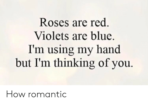 My Hand: Roses are red.  Violets are blue.  I'm using my hand  but I'm thinking of you How romantic