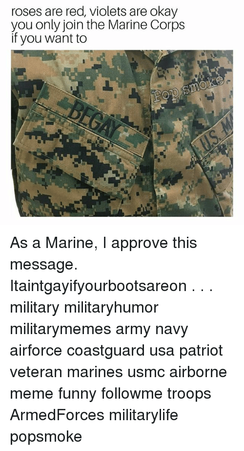 Corpsing: roses are red, violets are okay  you only join the Marine Corps  if you want to As a Marine, I approve this message. Itaintgayifyourbootsareon . . . military militaryhumor militarymemes army navy airforce coastguard usa patriot veteran marines usmc airborne meme funny followme troops ArmedForces militarylife popsmoke