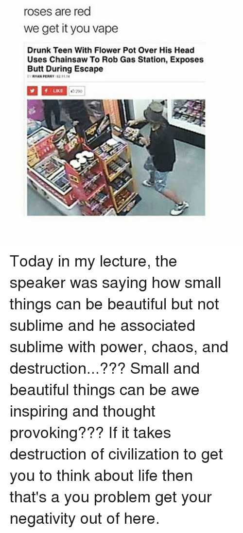 We get it, you vape: roses are red  we get it you vape  Drunk Teen With Flower Pot Over His Head  Uses Chainsaw To Rob Gas Station, Exposes  Butt During Escape  RYAN PERRY 82 11  1LIKE  5290  12 Today in my lecture, the speaker was saying how small things can be beautiful but not sublime and he associated sublime with power, chaos, and destruction...??? Small and beautiful things can be awe inspiring and thought provoking??? If it takes destruction of civilization to get you to think about life then that's a you problem get your negativity out of here.