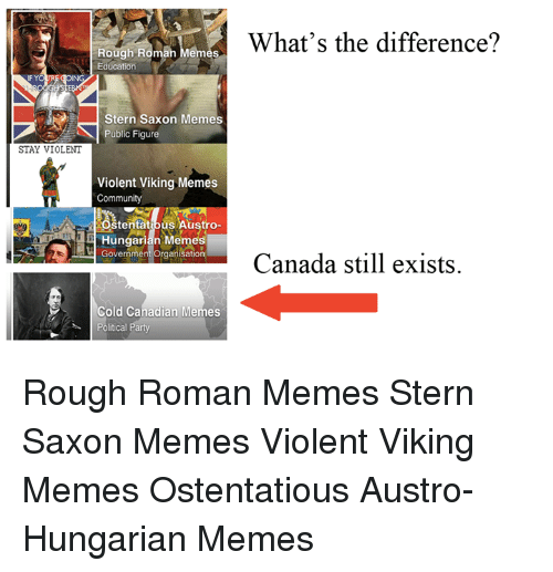 Canadian Meme: Rough Roman Memes  Education  Stern Saxon Memes  Public Figure  STAY VIOLENT  Violent Viking Memes  Community  Stentath us Austro-  Government organkation  Cold Canadian Memes  Political Party  What's the difference?  Canada still exists Rough Roman Memes Stern Saxon Memes Violent Viking Memes Ostentatious Austro-Hungarian Memes