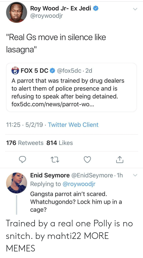 "No Snitch: Roy Wood Jr- Ex Jedi  @roywoodjr  ""Real Gs move in silence like  lasagna  台FOX 5 DC $ @fox5dc . 2d  A parrot that was trained by drug dealers  to alert them of police presence and is  refusing to speak after being detained  fox5dc.com/news/parrot-wo  11:25 5/2/19 - Twitter Web Client  176 Retweets 814 Likes  Enid Seymore @EnidSeymore 1h v  Replying to @roywoodjr  Gangsta parrot ain't scared  Whatchugondo? Lock him up in a  cage? Trained by a real one Polly is no snitch. by mahti22 MORE MEMES"