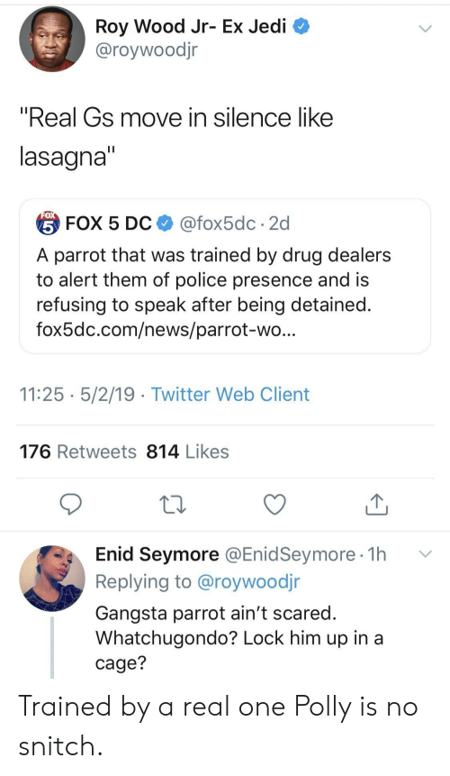 "No Snitch: Roy Wood Jr- Ex Jedi  @roywoodjr  ""Real Gs move in silence like  lasagna  台FOX 5 DC $ @fox5dc . 2d  A parrot that was trained by drug dealers  to alert them of police presence and is  refusing to speak after being detained  fox5dc.com/news/parrot-wo  11:25 5/2/19 - Twitter Web Client  176 Retweets 814 Likes  Enid Seymore @EnidSeymore 1h v  Replying to @roywoodjr  Gangsta parrot ain't scared  Whatchugondo? Lock him up in a  cage? Trained by a real one Polly is no snitch."