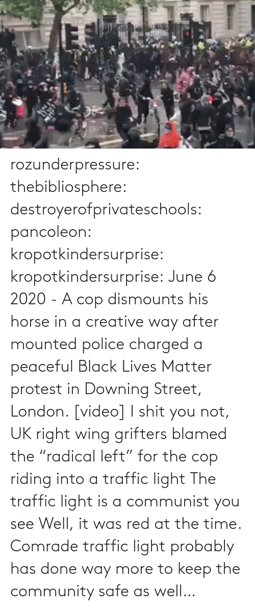 "Into: rozunderpressure:  thebibliosphere: destroyerofprivateschools:  pancoleon:   kropotkindersurprise:  kropotkindersurprise: June 6 2020 - A cop dismounts his horse in a creative way after mounted police charged a peaceful Black Lives Matter protest in Downing Street, London. [video]    I shit you not, UK right wing grifters blamed the ""radical left"" for the cop riding into a traffic light    The traffic light is a communist you see    Well, it was red at the time.  Comrade traffic light probably has done way more to keep the community safe as well…"